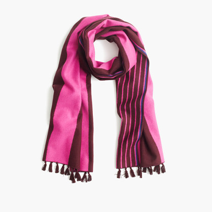 Brushed Silk Striped Scarf - predominant colour: hot pink; secondary colour: burgundy; occasions: casual, creative work; type of pattern: standard; style: regular; size: standard; material: fabric; pattern: striped; season: a/w 2016