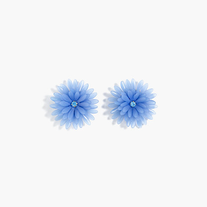 Blossom Earrings - predominant colour: diva blue; occasions: casual, creative work; style: stud; length: short; size: standard; material: plastic/rubber; fastening: pierced; finish: plain; season: a/w 2016; wardrobe: highlight