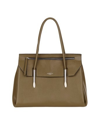 Flap Over Tote Bag - predominant colour: khaki; occasions: casual; type of pattern: standard; style: tote; length: shoulder (tucks under arm); size: standard; material: leather; pattern: plain; finish: plain; embellishment: chain/metal; wardrobe: investment; season: a/w 2016