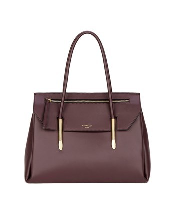 Flap Over Tote Bag - predominant colour: burgundy; occasions: casual; type of pattern: standard; style: tote; length: shoulder (tucks under arm); size: standard; material: leather; pattern: plain; finish: plain; season: a/w 2016; wardrobe: highlight