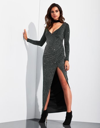 Long Sleeve Glitter Split Front V Neck Maxi Dress - neckline: low v-neck; fit: tight; pattern: plain; style: maxi dress; length: ankle length; hip detail: draws attention to hips; predominant colour: black; occasions: evening; fibres: polyester/polyamide - stretch; sleeve length: long sleeve; sleeve style: standard; texture group: jersey - clingy; pattern type: fabric; season: a/w 2016; wardrobe: event