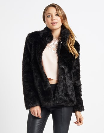 Short Faux Fur Jacket - pattern: plain; length: standard; collar: funnel; fit: loose; predominant colour: black; occasions: casual; fibres: acrylic - 100%; style: fur coat; sleeve length: long sleeve; sleeve style: standard; texture group: fur; collar break: high; pattern type: fabric; season: a/w 2016; wardrobe: highlight