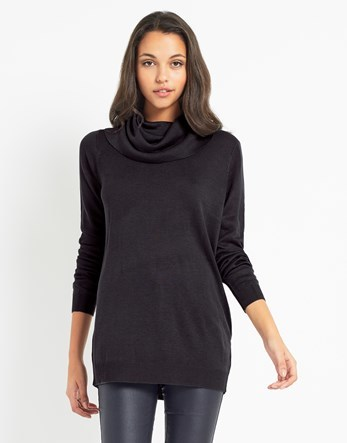 Drape Neck Jumper - neckline: cowl/draped neck; pattern: plain; length: below the bottom; style: standard; predominant colour: black; occasions: casual; fibres: acrylic - mix; fit: standard fit; sleeve length: long sleeve; sleeve style: standard; texture group: knits/crochet; pattern type: knitted - fine stitch; wardrobe: basic; season: a/w 2016