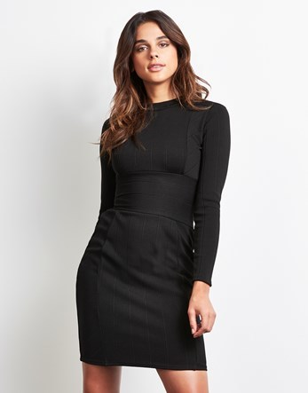 Bandage Dress - fit: tight; pattern: plain; style: bodycon; predominant colour: black; occasions: evening; length: just above the knee; fibres: polyester/polyamide - stretch; neckline: crew; sleeve length: long sleeve; sleeve style: standard; texture group: jersey - clingy; pattern type: fabric; season: a/w 2016; wardrobe: event