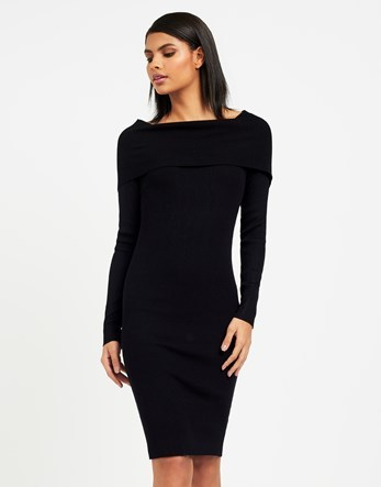 Ribbed Knit Off Shoulder Dress - neckline: round neck; fit: tight; pattern: plain; style: bodycon; predominant colour: black; occasions: evening; length: on the knee; fibres: viscose/rayon - stretch; sleeve length: long sleeve; sleeve style: standard; texture group: jersey - clingy; pattern type: fabric; season: a/w 2016; wardrobe: event