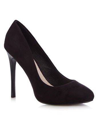 Wide Fit Platform Court Shoe - predominant colour: black; occasions: evening; material: faux leather; heel height: high; heel: stiletto; toe: round toe; style: courts; finish: plain; pattern: plain; season: a/w 2016; wardrobe: event