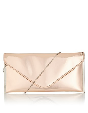 Metallic Clutch Bag - predominant colour: blush; occasions: evening; type of pattern: standard; style: clutch; length: hand carry; size: small; material: faux leather; pattern: plain; finish: metallic; season: a/w 2016
