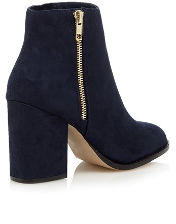 Side Zip Block Heel Boots - predominant colour: black; occasions: casual; material: suede; heel height: high; heel: block; toe: round toe; boot length: ankle boot; style: standard; finish: plain; pattern: plain; season: a/w 2016