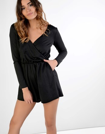 Playsuit - neckline: low v-neck; fit: tailored/fitted; pattern: plain; length: short shorts; predominant colour: black; occasions: evening, holiday; fibres: polyester/polyamide - 100%; sleeve length: long sleeve; sleeve style: standard; style: playsuit; pattern type: fabric; texture group: jersey - stretchy/drapey; season: a/w 2016; wardrobe: highlight