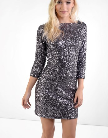 Petite Sequin Dress - length: mid thigh; neckline: slash/boat neckline; fit: tight; pattern: plain; style: bodycon; predominant colour: silver; occasions: evening; fibres: polyester/polyamide - 100%; sleeve length: 3/4 length; sleeve style: standard; texture group: jersey - clingy; pattern type: fabric; embellishment: sequins; season: a/w 2016; wardrobe: event