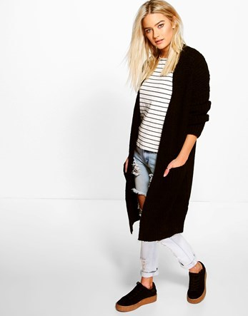 Oversized Boyfriend Cardigan - sleeve style: dolman/batwing; pattern: plain; neckline: collarless open; style: open front; length: below the knee; predominant colour: black; occasions: casual, creative work; fibres: acrylic - 100%; fit: loose; sleeve length: long sleeve; texture group: knits/crochet; pattern type: knitted - other; wardrobe: basic; season: a/w 2016