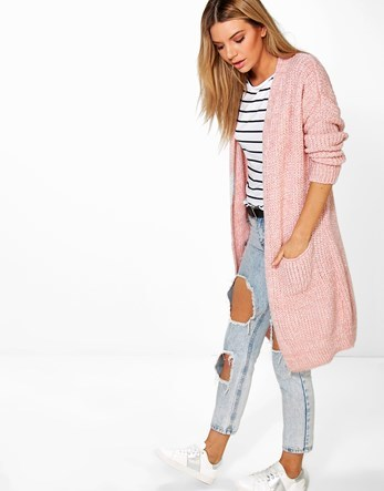 Oversized Boyfriend Cardigan - neckline: collarless open; style: open front; length: on the knee; predominant colour: pink; occasions: casual, creative work; fibres: acrylic - mix; fit: loose; sleeve length: long sleeve; sleeve style: standard; texture group: knits/crochet; pattern type: knitted - other; pattern size: light/subtle; pattern: marl; season: a/w 2016; wardrobe: highlight