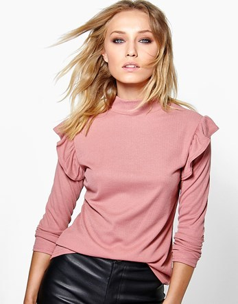 Frill Shoulder Turtle Neck Jumper - pattern: plain; neckline: high neck; style: standard; predominant colour: pink; occasions: casual; length: standard; fibres: polyester/polyamide - 100%; fit: standard fit; shoulder detail: bulky shoulder detail; sleeve length: long sleeve; sleeve style: standard; texture group: knits/crochet; pattern type: knitted - fine stitch; season: a/w 2016; wardrobe: highlight