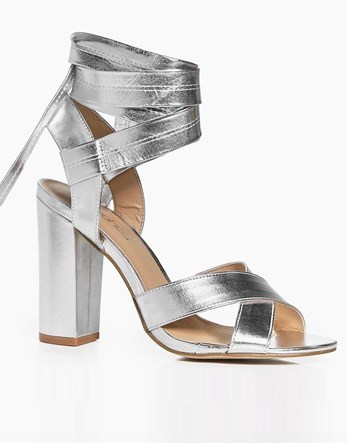 Block Heel Metallic Heels - predominant colour: silver; occasions: evening; material: faux leather; heel height: high; ankle detail: ankle tie; heel: block; toe: open toe/peeptoe; style: strappy; finish: metallic; pattern: plain; season: a/w 2016; wardrobe: event