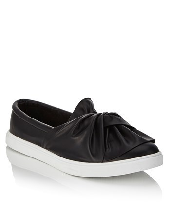 Bow Front Slip On Trainers - secondary colour: white; predominant colour: black; occasions: casual; material: faux leather; heel height: flat; toe: round toe; finish: plain; pattern: plain; embellishment: bow; shoe detail: moulded soul; style: skate shoes; season: a/w 2016; wardrobe: highlight