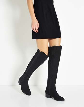 Over Knee Boots - predominant colour: black; occasions: casual; material: leather; heel height: flat; heel: block; toe: round toe; boot length: over the knee; style: standard; finish: plain; pattern: plain; wardrobe: investment; season: a/w 2016