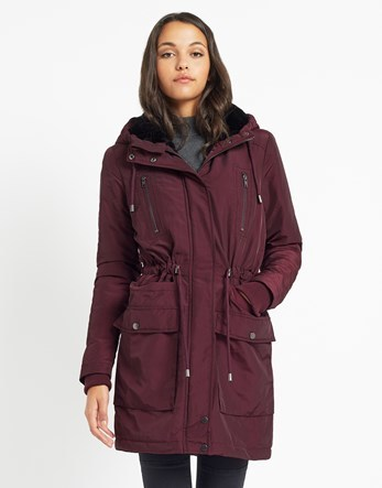 Yas Parka Coat - pattern: plain; fit: loose; style: parka; back detail: hood; collar: high neck; length: mid thigh; predominant colour: aubergine; occasions: casual; fibres: cotton - mix; hip detail: subtle/flattering hip detail; waist detail: belted waist/tie at waist/drawstring; sleeve length: long sleeve; sleeve style: standard; texture group: cotton feel fabrics; collar break: high; pattern type: fabric; season: a/w 2016; wardrobe: highlight