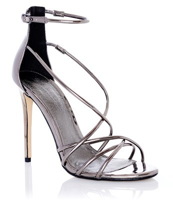 Metallic Mirror Strappy Sandals - predominant colour: silver; occasions: evening; material: leather; ankle detail: ankle strap; heel: stiletto; toe: open toe/peeptoe; style: strappy; finish: metallic; pattern: plain; heel height: very high; season: a/w 2016; wardrobe: event
