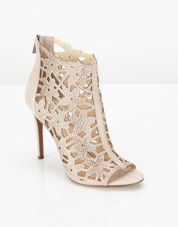 Cutout Heel Sandals - predominant colour: blush; occasions: evening; material: leather; heel height: high; heel: stiletto; toe: open toe/peeptoe; boot length: ankle boot; finish: metallic; pattern: plain; style: cut outs; season: a/w 2016; wardrobe: event