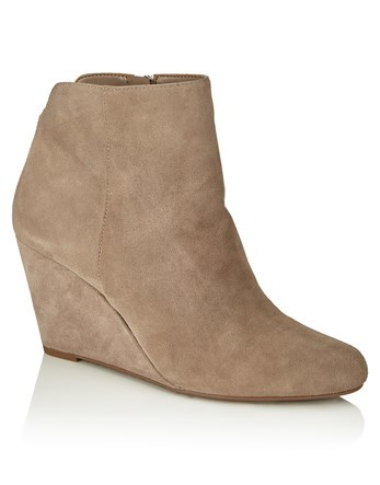 Wedge Ankle Boots - predominant colour: nude; occasions: casual; material: suede; heel height: mid; heel: wedge; toe: round toe; boot length: ankle boot; style: standard; finish: plain; pattern: plain; season: a/w 2016