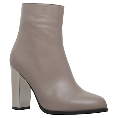 Salvador Block Heeled Ankle Boots - predominant colour: mid grey; occasions: evening, creative work; material: leather; heel height: high; heel: block; toe: round toe; boot length: ankle boot; style: standard; finish: plain; pattern: plain; season: a/w 2016