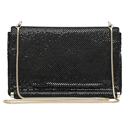 Rosa Chainmail Small Shoulder Bag, Black - predominant colour: black; occasions: casual, creative work; type of pattern: standard; style: shoulder; length: shoulder (tucks under arm); size: standard; material: fabric; embellishment: sequins; pattern: plain; finish: plain; wardrobe: investment; season: a/w 2016