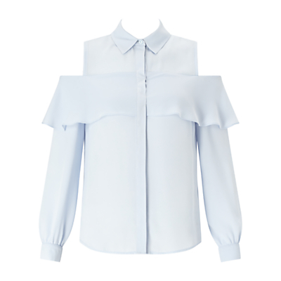 Frill Cold Shoulder Shirt - neckline: shirt collar/peter pan/zip with opening; pattern: plain; style: shirt; predominant colour: pale blue; occasions: casual, creative work; length: standard; fibres: polyester/polyamide - 100%; fit: body skimming; shoulder detail: cut out shoulder; sleeve length: long sleeve; sleeve style: standard; pattern type: fabric; texture group: other - light to midweight; season: a/w 2016; wardrobe: highlight