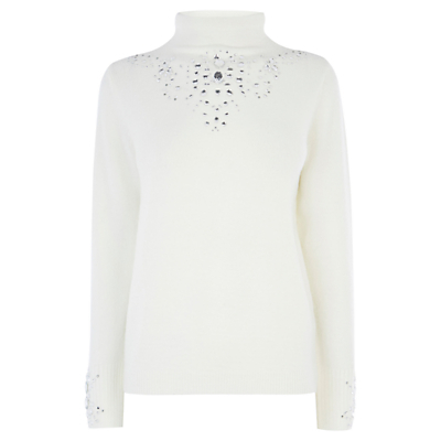 Smith Embellished Knitted Top, Ivory - pattern: plain; neckline: roll neck; predominant colour: ivory/cream; occasions: casual, creative work; length: standard; style: top; fibres: polyester/polyamide - stretch; fit: body skimming; sleeve length: long sleeve; sleeve style: standard; texture group: knits/crochet; pattern type: knitted - fine stitch; embellishment: jewels/stone; season: a/w 2016; wardrobe: highlight