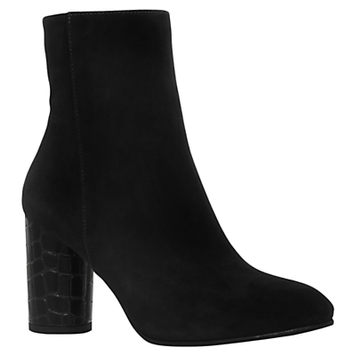 Miss Kg Smile Block Heeled Ankle Boots, Black - predominant colour: black; occasions: casual, creative work; material: leather; heel height: high; heel: block; toe: round toe; boot length: ankle boot; style: standard; finish: plain; pattern: plain; season: a/w 2016; wardrobe: highlight