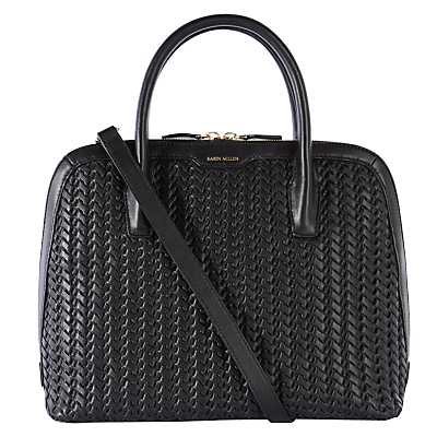 Hand Woven Leather Bag, Black - predominant colour: black; occasions: casual, work, creative work; type of pattern: standard; style: tote; length: handle; size: standard; material: leather; pattern: plain; finish: plain; wardrobe: investment; season: a/w 2016