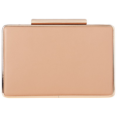 Nina Box Clutch Bag, Trench - predominant colour: nude; occasions: evening, occasion; type of pattern: standard; style: clutch; length: hand carry; size: small; material: satin; pattern: plain; finish: plain; season: a/w 2016