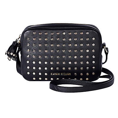 Leather Stud Camera Bag, Black - secondary colour: silver; predominant colour: black; occasions: casual, creative work; type of pattern: small; style: satchel; length: across body/long; size: small; material: leather; embellishment: studs; finish: plain; pattern: patterned/print; season: a/w 2016; wardrobe: highlight