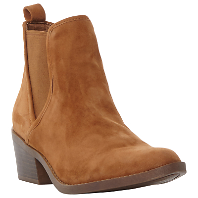 Talor Block Heeled Ankle Boots, Tan - predominant colour: tan; occasions: casual, creative work; material: suede; heel height: mid; embellishment: elasticated; heel: block; toe: round toe; boot length: ankle boot; style: cowboy; finish: plain; pattern: plain; season: a/w 2016
