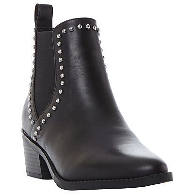 Talor D Studded Block Heeled Ankle Boots, Black - predominant colour: black; occasions: casual, creative work; material: leather; heel height: mid; embellishment: studs; heel: block; toe: pointed toe; boot length: ankle boot; finish: plain; pattern: plain; style: chelsea; season: a/w 2016; wardrobe: highlight