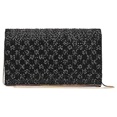 Mina Beaded Evening Clutch Bag, Black - predominant colour: black; occasions: evening, occasion; type of pattern: light; style: clutch; length: hand carry; size: small; material: fabric; embellishment: beading; finish: metallic; pattern: colourblock; season: a/w 2016; wardrobe: event