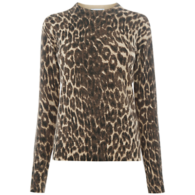 Animal Print Jumper - neckline: high neck; style: standard; predominant colour: chocolate brown; secondary colour: camel; occasions: casual, creative work; length: standard; fibres: cotton - mix; fit: standard fit; sleeve length: long sleeve; sleeve style: standard; texture group: knits/crochet; pattern type: knitted - fine stitch; pattern size: standard; pattern: animal print; multicoloured: multicoloured; season: a/w 2016; wardrobe: highlight
