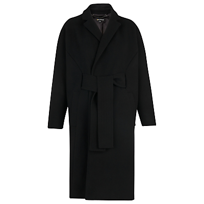 Milton Belted Coat, Black - pattern: plain; fit: loose; style: wrap around; collar: standard lapel/rever collar; length: mid thigh; predominant colour: black; occasions: casual, creative work; fibres: wool - mix; sleeve length: long sleeve; sleeve style: standard; collar break: medium; pattern type: fabric; texture group: woven bulky/heavy; season: a/w 2016