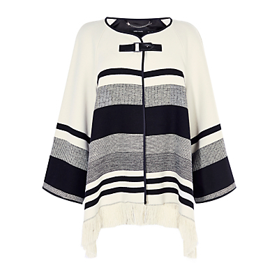 Stripe Cape Coat, Black/Ivory - neckline: round neck; pattern: horizontal stripes; length: below the bottom; predominant colour: ivory/cream; secondary colour: black; occasions: casual, creative work; style: cape style; fibres: cotton - 100%; fit: loose; sleeve length: long sleeve; texture group: knits/crochet; pattern type: knitted - other; pattern size: standard; sleeve style: cape/poncho sleeve; season: a/w 2016; wardrobe: highlight