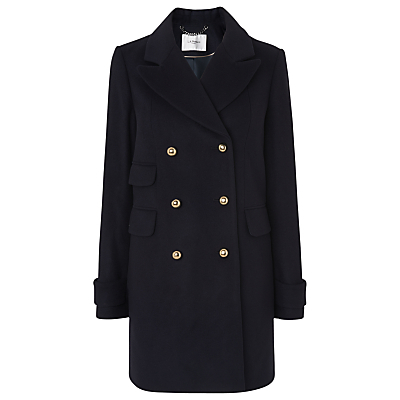 Sophia Pea Coat, Blue - pattern: plain; style: pea coat; collar: standard lapel/rever collar; length: mid thigh; predominant colour: navy; occasions: casual, creative work; fit: straight cut (boxy); fibres: wool - mix; sleeve length: long sleeve; sleeve style: standard; collar break: medium; pattern type: fabric; texture group: woven bulky/heavy; wardrobe: basic; season: a/w 2016