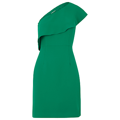 Teagan One Shoulder Dress, Dark Green - length: mini; fit: tailored/fitted; pattern: plain; sleeve style: sleeveless; style: asymmetric (top); neckline: asymmetric; hip detail: draws attention to hips; predominant colour: emerald green; occasions: evening, occasion; fibres: polyester/polyamide - 100%; sleeve length: sleeveless; texture group: crepes; bust detail: bulky details at bust; pattern type: fabric; season: a/w 2016; wardrobe: event