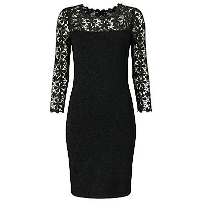 Foil Suzy Dress - length: mid thigh; fit: tight; style: bodycon; hip detail: draws attention to hips; predominant colour: black; occasions: evening; neckline: crew; sleeve length: 3/4 length; sleeve style: standard; texture group: lace; pattern type: fabric; pattern size: standard; pattern: patterned/print; fibres: viscose/rayon - mix; shoulder detail: sheer at shoulder; season: a/w 2016; wardrobe: event