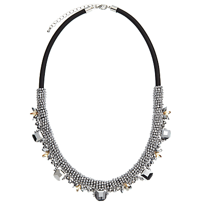 Metallic Bead And Gem Short Necklace, Silver/Black - predominant colour: silver; occasions: evening, occasion; length: mid; size: standard; material: chain/metal; finish: metallic; embellishment: jewels/stone; style: bib/statement; season: a/w 2016