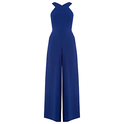 Wide Leg Jumpsuit, Bright Blue - length: standard; neckline: v-neck; pattern: plain; sleeve style: sleeveless; waist detail: fitted waist; predominant colour: royal blue; occasions: evening; fit: fitted at waist & bust; fibres: polyester/polyamide - 100%; sleeve length: sleeveless; texture group: crepes; style: jumpsuit; pattern type: fabric; season: a/w 2016