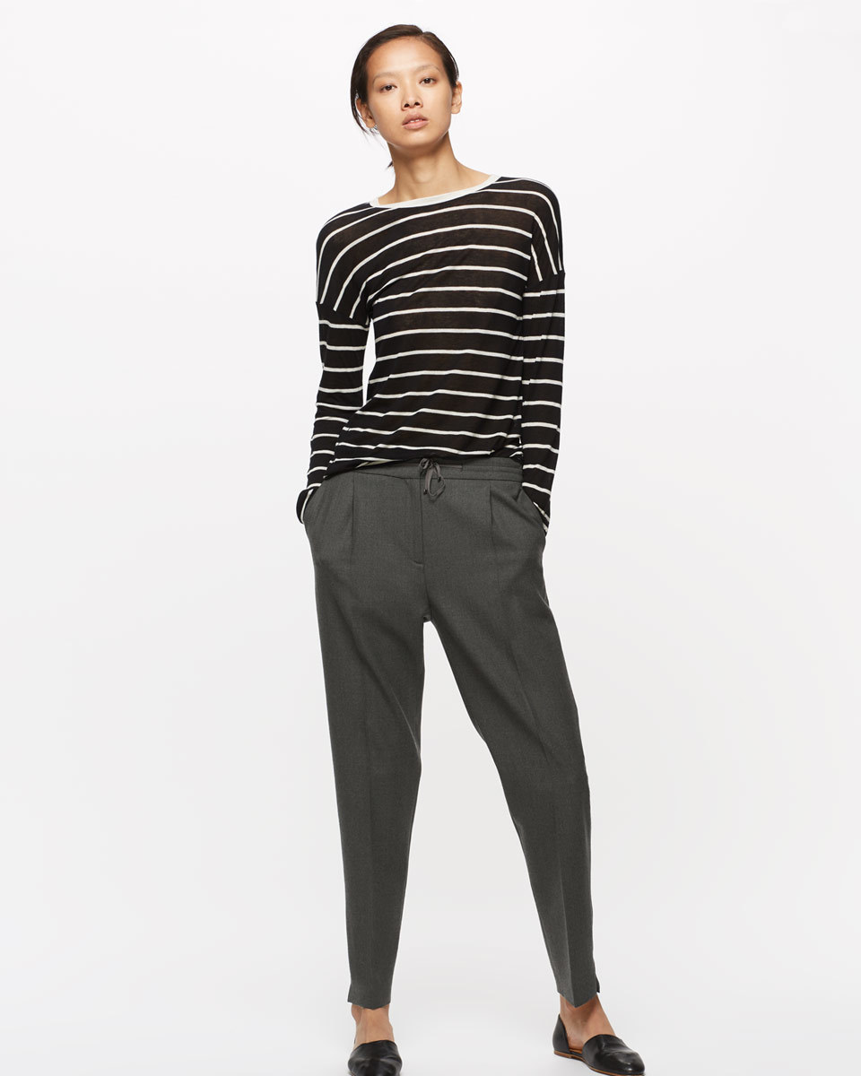 Relaxed Flannel Trouser - length: standard; pattern: striped; style: peg leg; waist detail: belted waist/tie at waist/drawstring; waist: mid/regular rise; predominant colour: charcoal; occasions: casual, creative work; fibres: wool - stretch; fit: tapered; pattern type: fabric; texture group: woven light midweight; season: a/w 2016; wardrobe: highlight