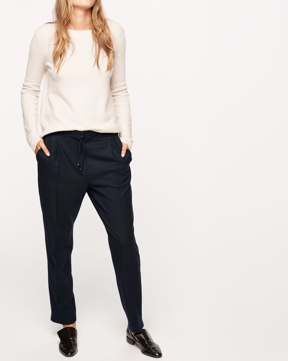 Relaxed Flannel Trouser - length: standard; pattern: plain; style: peg leg; waist: mid/regular rise; predominant colour: navy; occasions: casual, creative work; fibres: wool - stretch; fit: tapered; pattern type: fabric; texture group: woven light midweight; wardrobe: basic; season: a/w 2016
