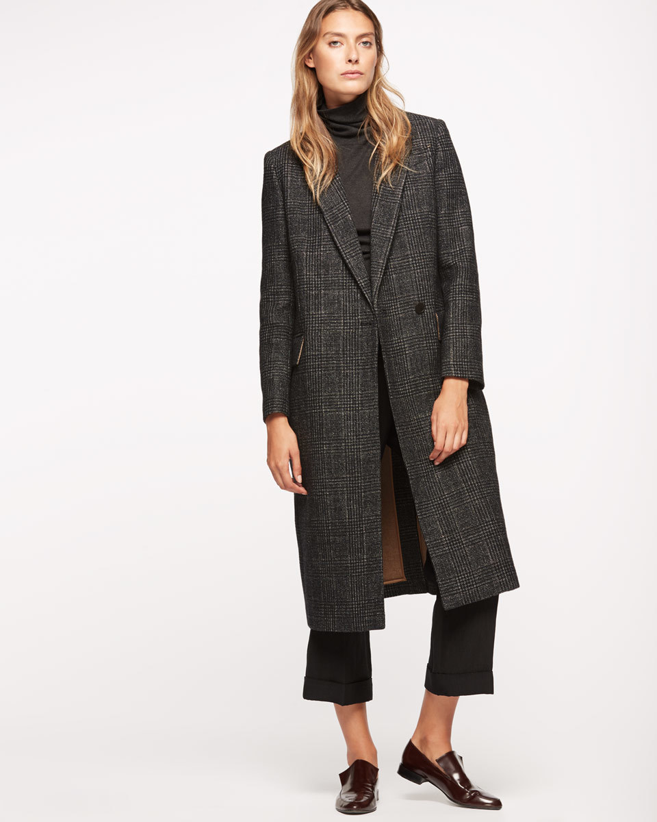 Gold Check Coat - pattern: checked/gingham; style: single breasted; collar: standard lapel/rever collar; predominant colour: charcoal; occasions: casual; fit: straight cut (boxy); fibres: wool - mix; length: below the knee; sleeve length: long sleeve; sleeve style: standard; collar break: medium; pattern type: fabric; texture group: woven bulky/heavy; season: a/w 2016; wardrobe: highlight