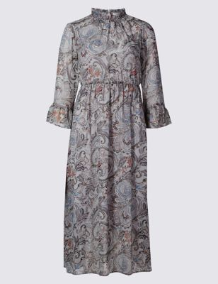Paisley Print Fit & Flare Dress - length: below the knee; fit: fitted at waist; style: blouson; pattern: paisley; sleeve style: trumpet; predominant colour: mid grey; occasions: evening; neckline: collarstand; fibres: polyester/polyamide - 100%; sleeve length: 3/4 length; pattern type: fabric; texture group: other - light to midweight; season: a/w 2016; wardrobe: event