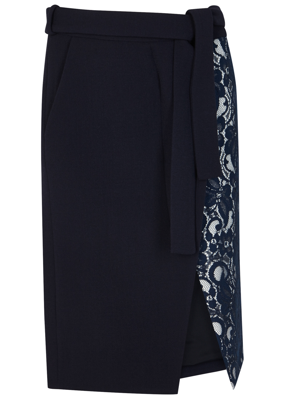 Navy Lace And Wool Wrap Skirt - length: below the knee; pattern: plain; style: wrap/faux wrap; fit: tailored/fitted; waist: mid/regular rise; predominant colour: navy; occasions: evening, creative work; fibres: wool - mix; pattern type: fabric; texture group: woven light midweight; embellishment: lace; season: a/w 2016; wardrobe: highlight