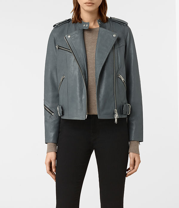 Atkinson Leather Biker Jacket - pattern: plain; style: biker; collar: asymmetric biker; predominant colour: mid grey; occasions: casual; length: standard; fit: straight cut (boxy); fibres: leather - 100%; hip detail: added detail/embellishment at hip; sleeve length: long sleeve; sleeve style: standard; texture group: leather; collar break: high/illusion of break when open; pattern type: fabric; season: a/w 2016
