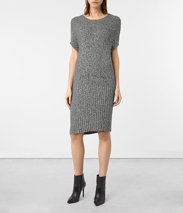 Velo Dress - style: shift; pattern: plain; predominant colour: mid grey; occasions: casual; length: on the knee; fit: body skimming; fibres: cotton - 100%; neckline: crew; sleeve length: half sleeve; sleeve style: standard; pattern type: fabric; texture group: jersey - stretchy/drapey; season: a/w 2016